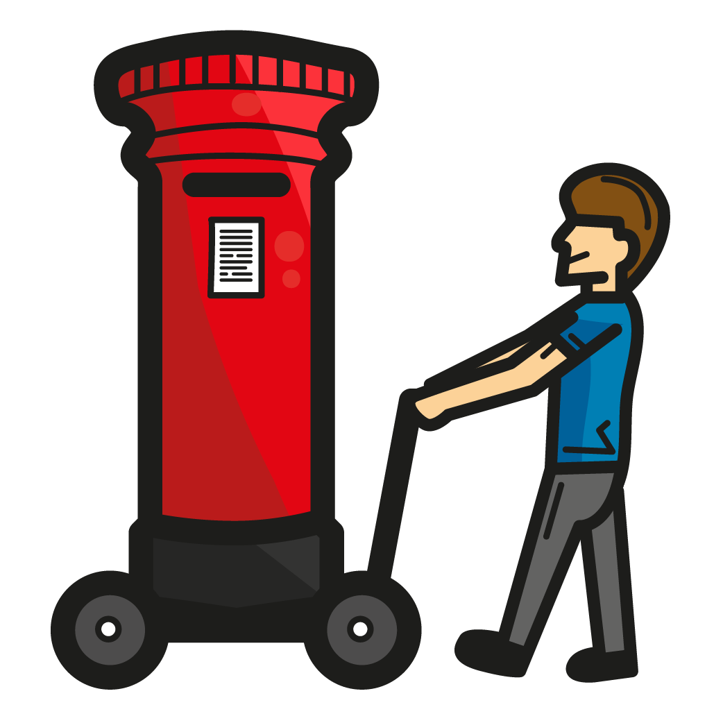 Illustration of man wheeling postbox