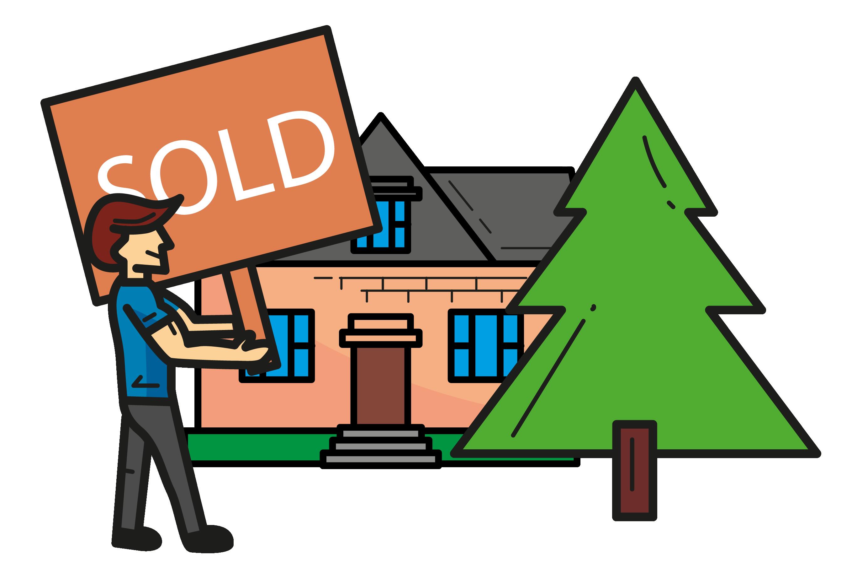 Illustration showing estate agency