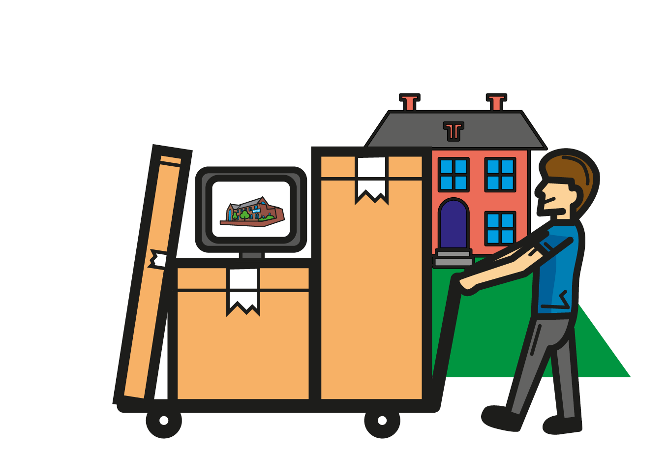 Illustration showing house clearing services