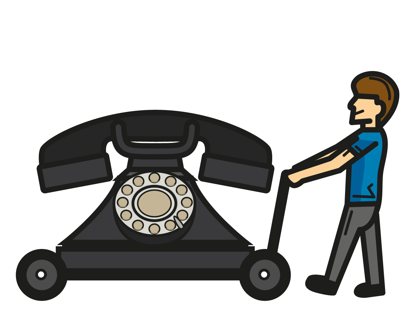 Illustration of man wheeling giant phone